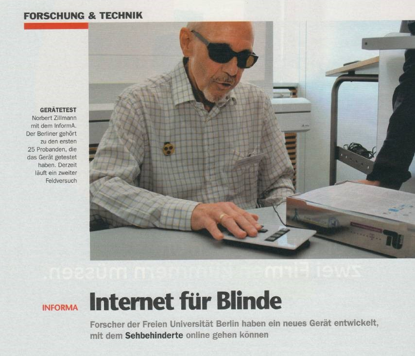 A blind person testing the new device InformA (2009)