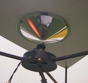 A video camera looking into an omnidirectional mirror.