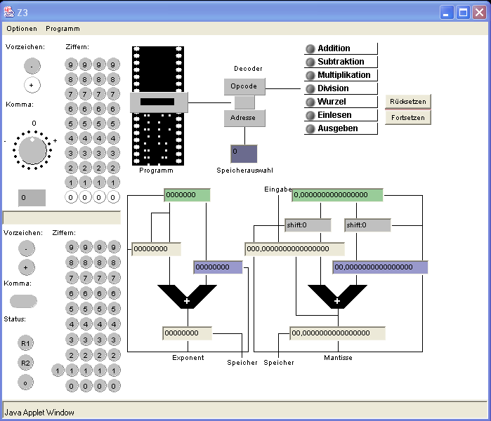 Java Simulation of the Z3 in the Zuse Internet Archive
