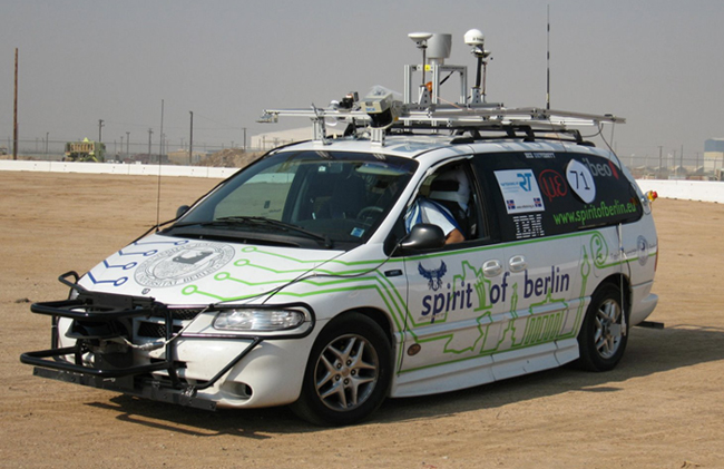 Our robotic vehicle at the Urban Challenge competition in Victorville, CA (2007)