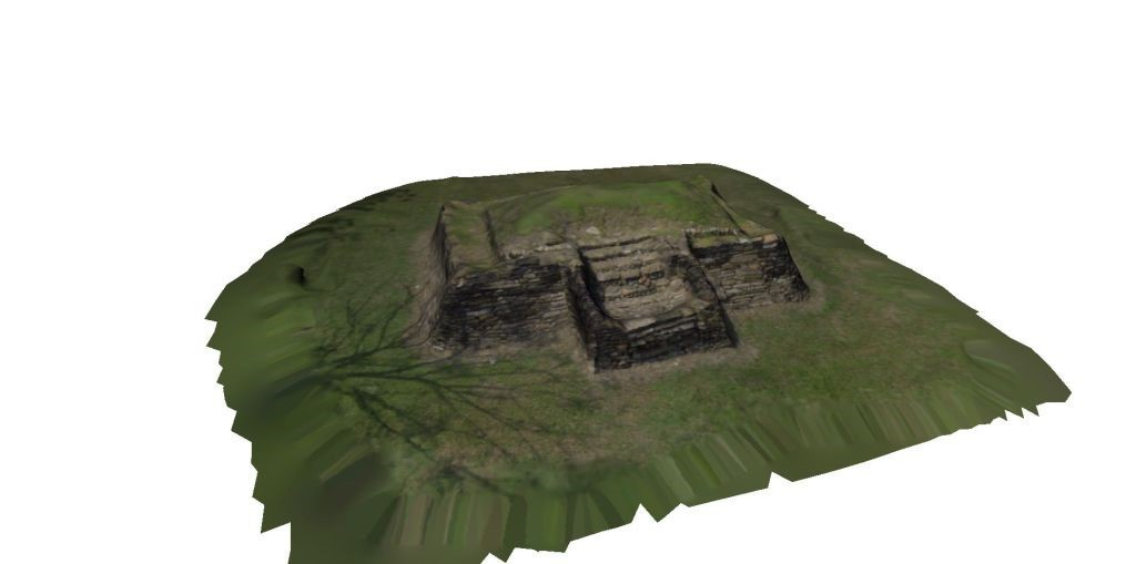 Reconstruction of the pyramid of Tamtoc in San Luis Potosi. Our team flew around the archeological region in 2012 and produced the 3D reconstruction