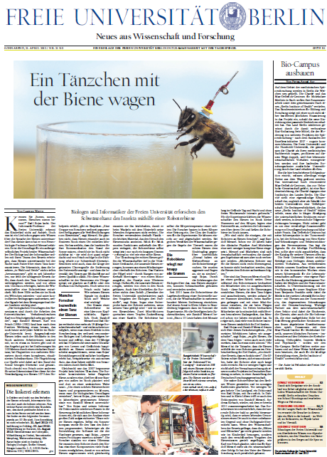 The daily newspaper Tagesspiegel dedicated the front page of its bimonthly research report to RoboBee