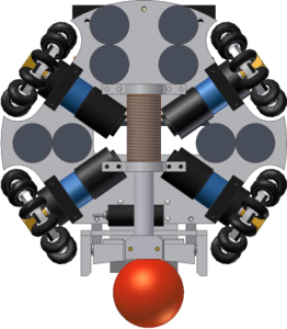 The four motors in an omnidirectional robot. The wheels have a special shape.