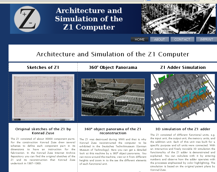 Fig. 2: The welcome screen of the Z1 website
