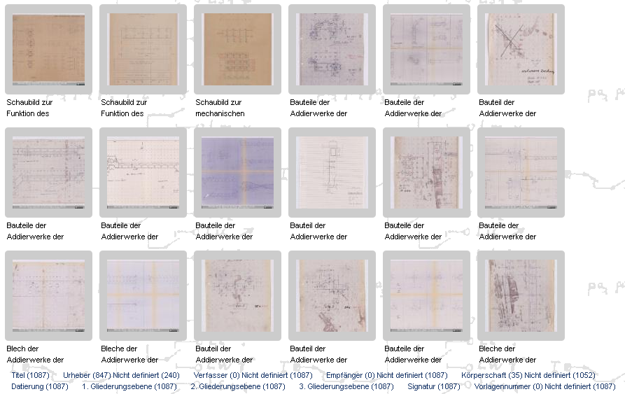 Fig. 3: Thumbnails of some blueprints of the Z1